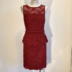 Trina Turk Red Lace Sheath Dress